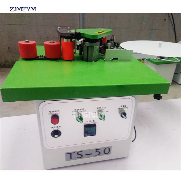 TS-50 wood furniture pvc mdf veneer rubber adhesion glue portable edge banding machine,Edge thickness 10mm-50mm banding machine
