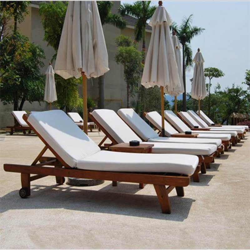 Antique outdoor furniture folding cushion zero gravity wooden rattan beach sun lounger