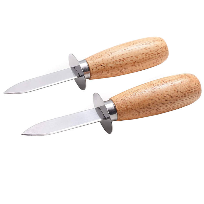 Wood Handle Oyster Shucking Knife Clam Knife Shucker Seafood Opener Tool