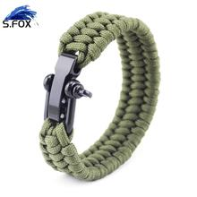 Different Types Survival Bracelet Outdoor Survival Woven Rope Paracord Bracelets with Adjustable Size Metal Buckle