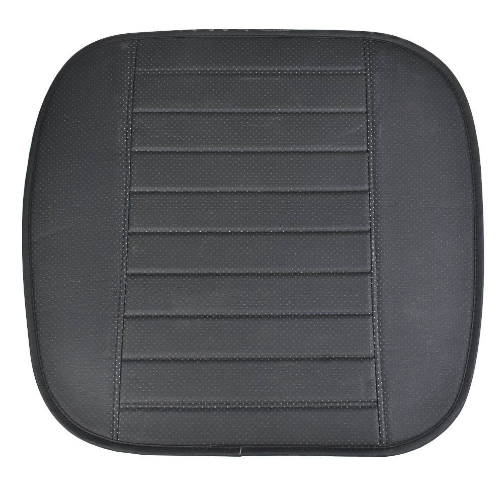 Black PU Leather Cross Striation Front Seat Cover Half Surround Chair Cushion Mat
