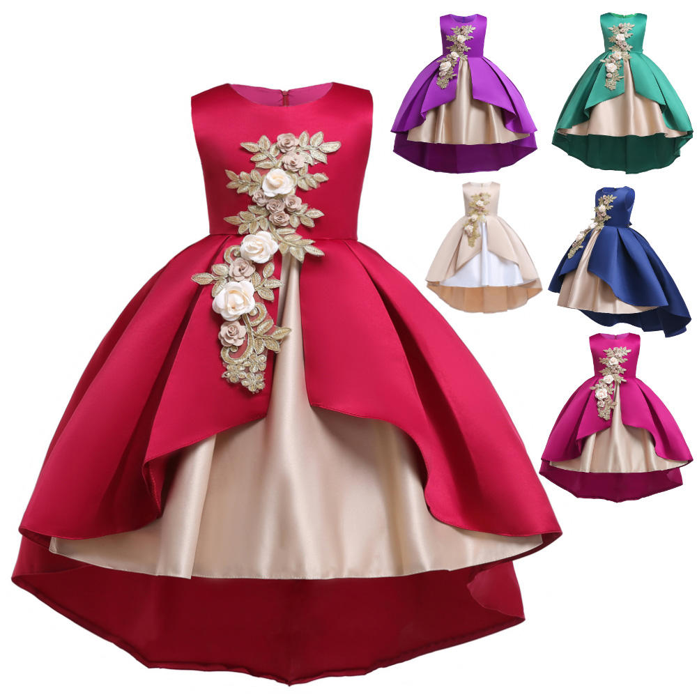 wholesale 2019 hot sale amazon new design latest little kids birthday children gown frock smoked wedding flower party girl dress