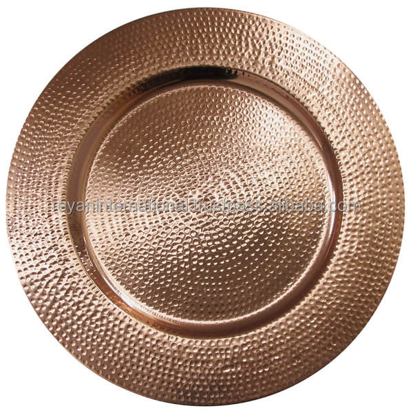 Copper Finished Glossy Hammered Metal Charger Plate