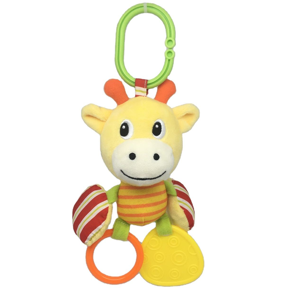Safety Infant Kids Bell stuffing activity learning rattle teether with sound animal charater kids toys baby rattle