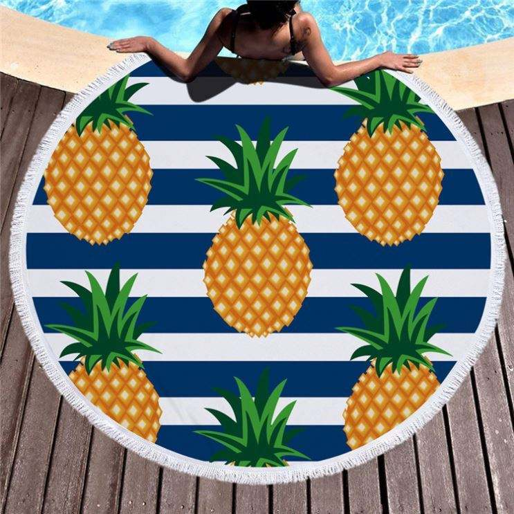 Wholesale 2019 Summer Hot Selling Microfiber Round Beach Towel With Tassel Fringe