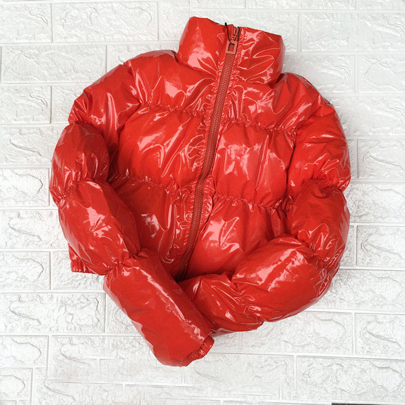 Fashion Winter Patent Leather Bubble Coat Women Zipper Waterproof Cotton padded Red Puffer Jacket Woman Parkas Plus Size