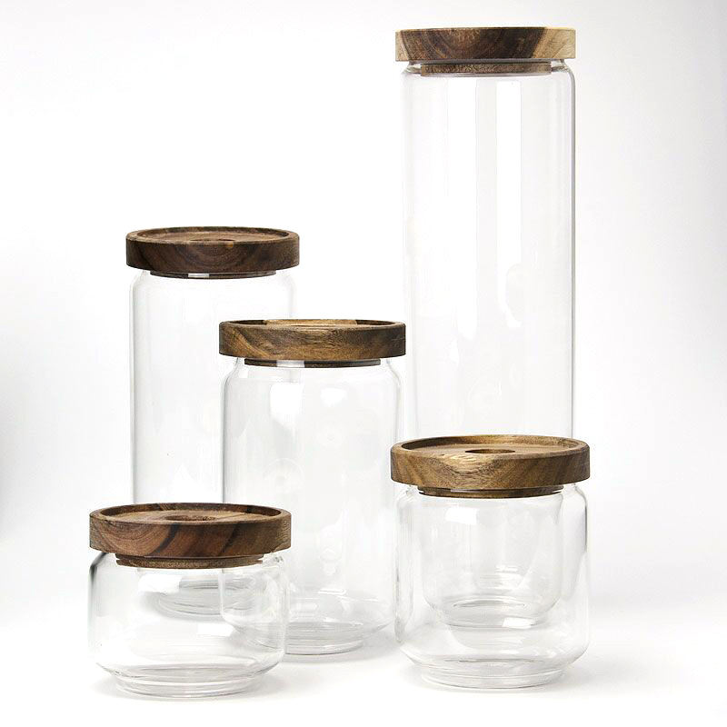 Amazon Hot Sale Glass Sealed Jar With Transparent Covered Wood Lid Glass Storage Tank With Nut & Candy