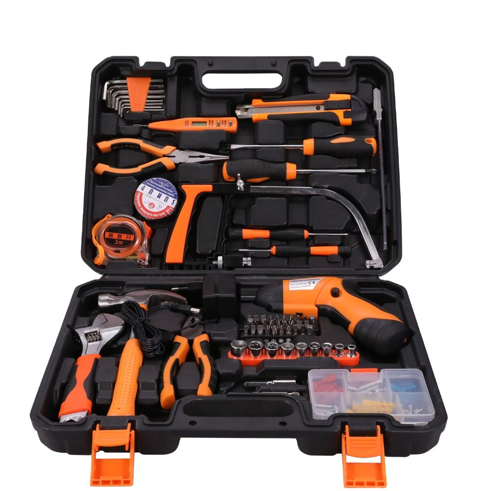 SOLUDE 115 Piece Electric Screwdriver Household Hand Tools Kit With Plastic Toolbox Storage Case