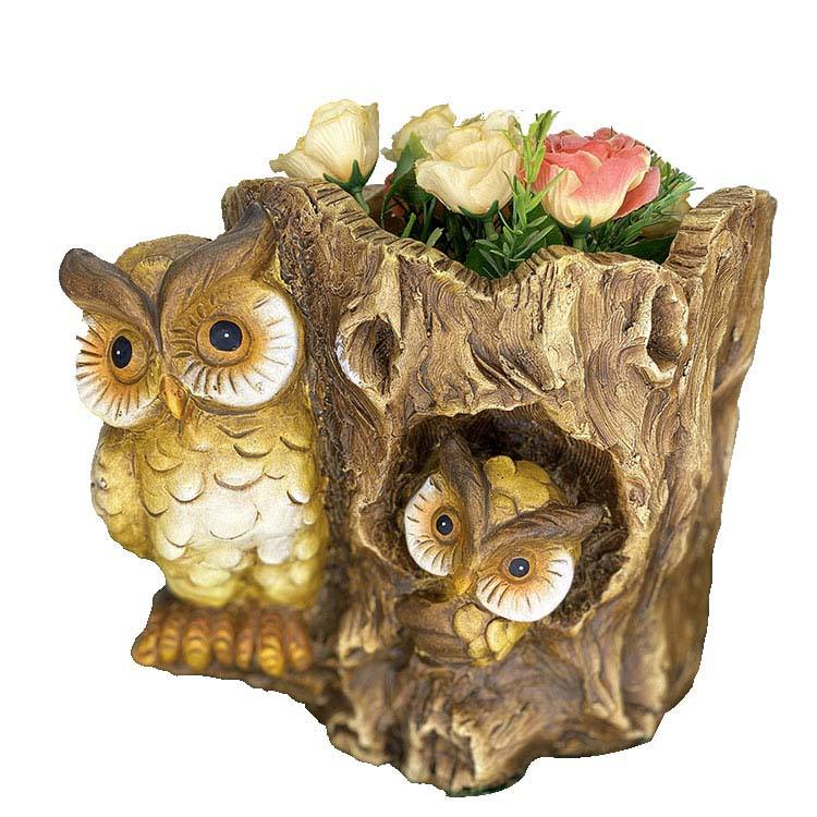High qualitymagnesia garden brown owl w. Wooden like flowerpot home decoration