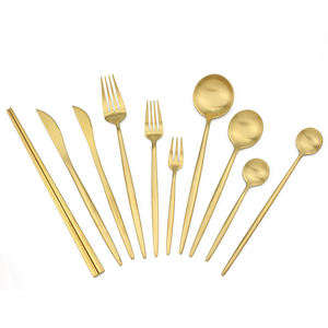 Wholesale Titanium Gold Flatware Spoon Fork And Knife Restaurant Wedding Flatware Party Flatwares Luxury Cutlery Set