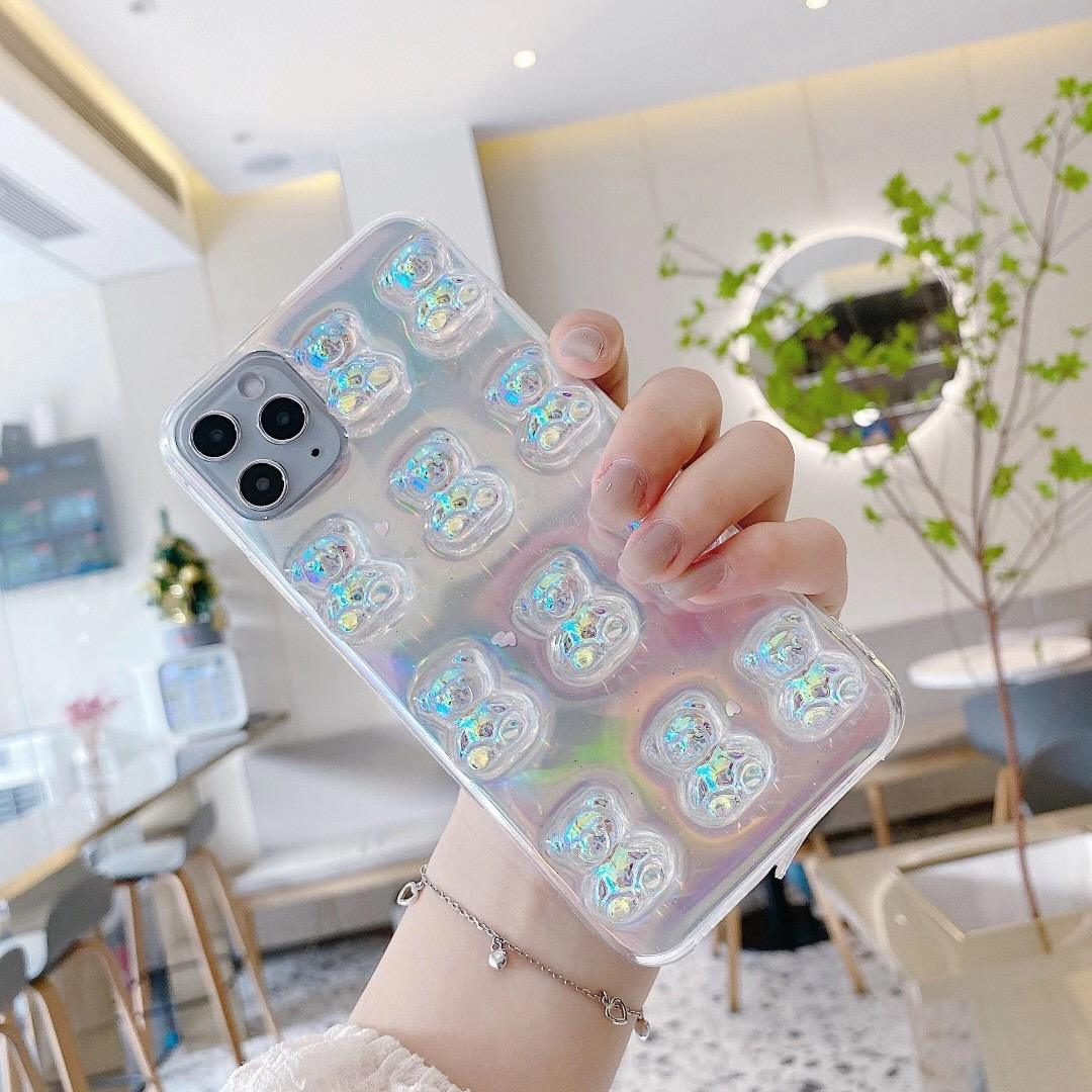 Hot Selling Crystal 3D Bear For iPhone XS MAX Cute Transparent Soft Case
