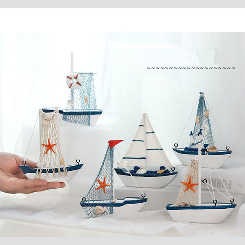 Mediterranean Style Creative Home Decoration Furnishings Wood Sailboat Model Small Ornaments Crafts Wooden Boat