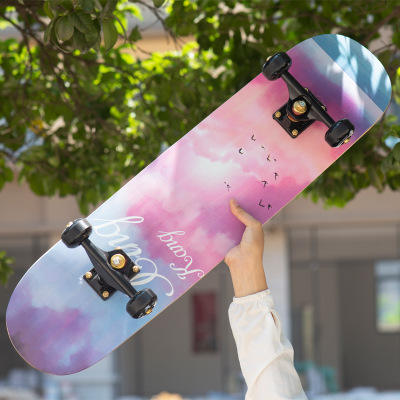 "79cm/31"" Beginner Adult Kids Maple Complete Skate board Cool Double Rocker Skateboard High Speed Drift Skateboard"