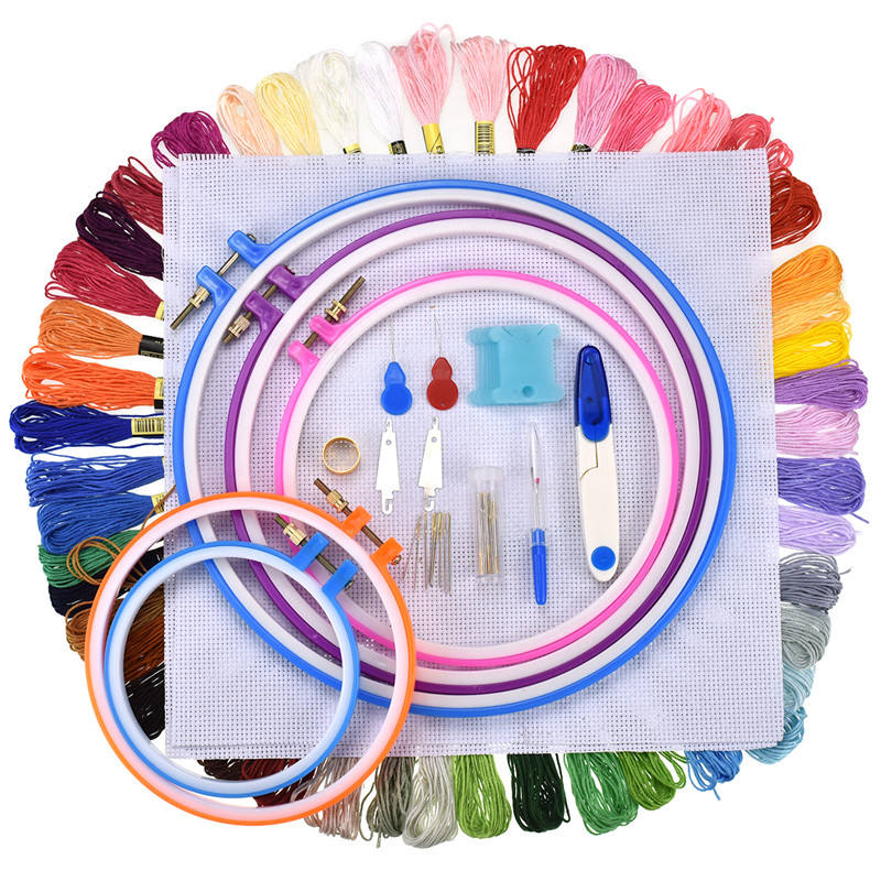 5 sizes plastic embroidery hoop 100 skeins of embroidery threads corss stitch set for women embroidery kit