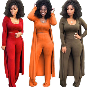 Hot Woman Clothes 2020 Trending Ribbed Crop Top 3 Piece Set Jumpsuit Fall Winter Outfit Plus Size Women Clothing