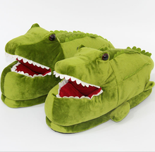 Cute crocodile shape winter animal indoor slippers for men and women