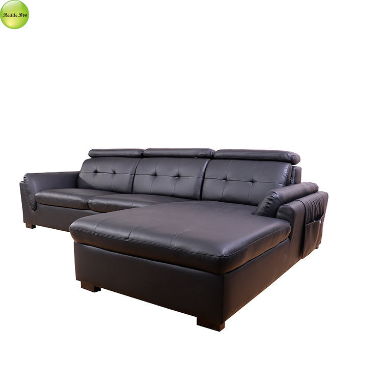 Dark black color high grade lounge top grain italian leather sofa in brown wooden legs