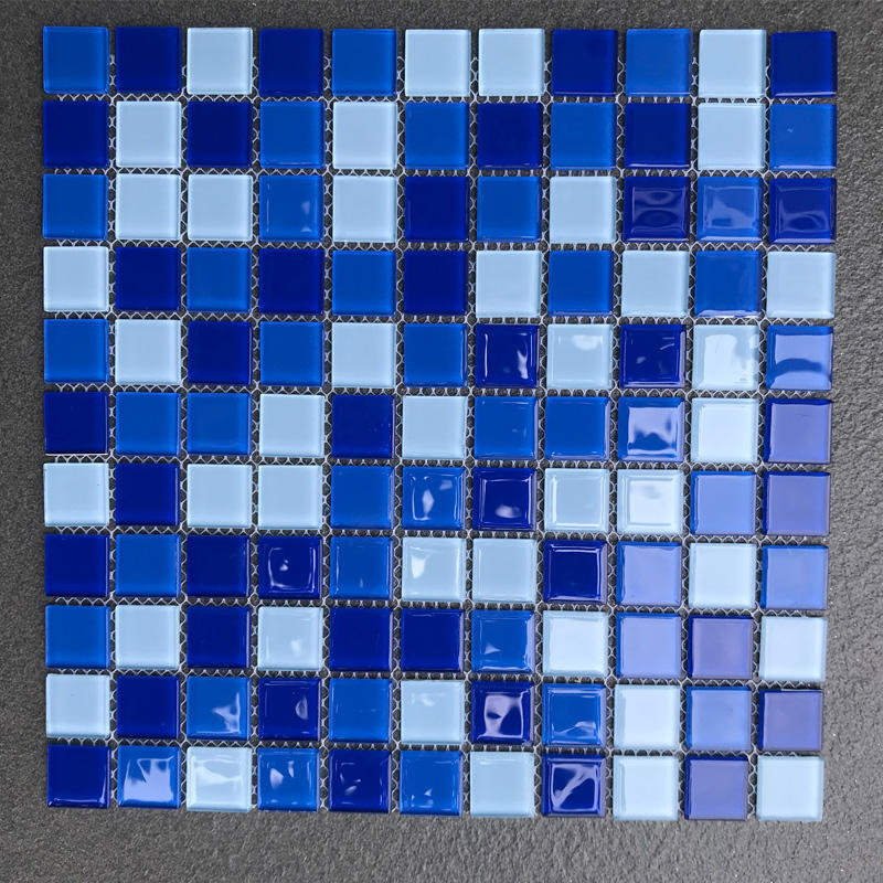 25x25mm bright color crystal glass mosaic swimming pool tile