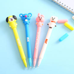 Wholesale Custom Promotion Gel Kawaii Cute Ballpoint Pen For Girls Rubber Cartoon Bts Ball Pen