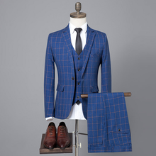 High Quality Mens Plaid Blazer+Vest+Pants Wedding Formal Business Suits