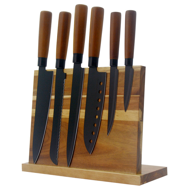 Hot Selling 7Pcs Stainless Steel Coating Non-Stick Japanese Style Kitchen Knife Set With Wood Handle