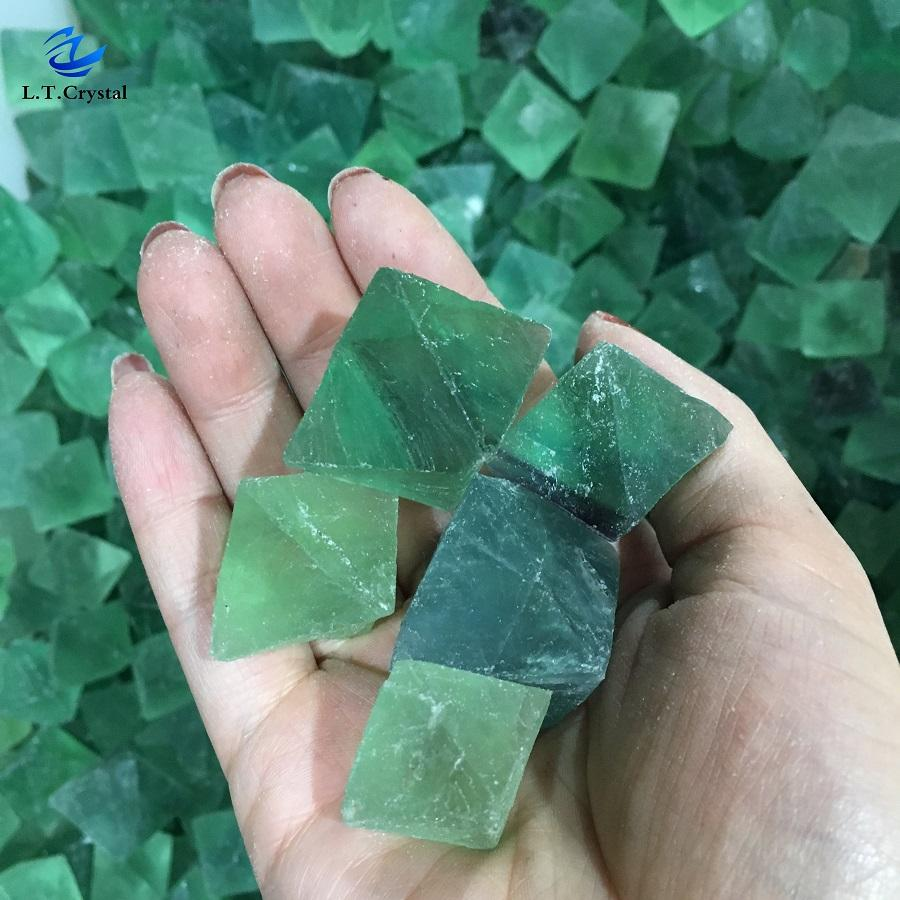 Wholesale price of natural Green fluorite crystal polyhedron cheap fluorite healing stone price