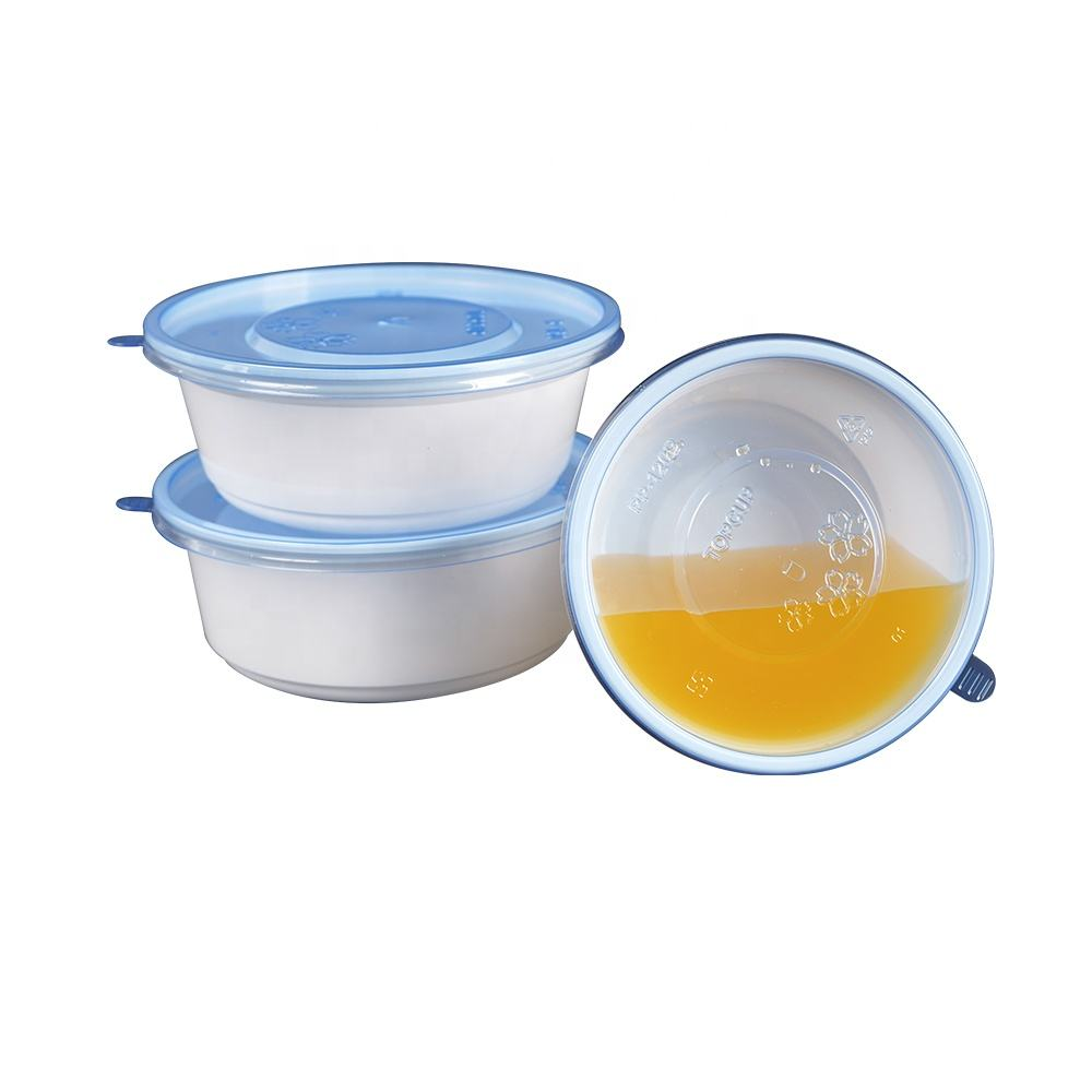 High quality disposable plastic take away food bowls patterns and logos can be customized round food containers