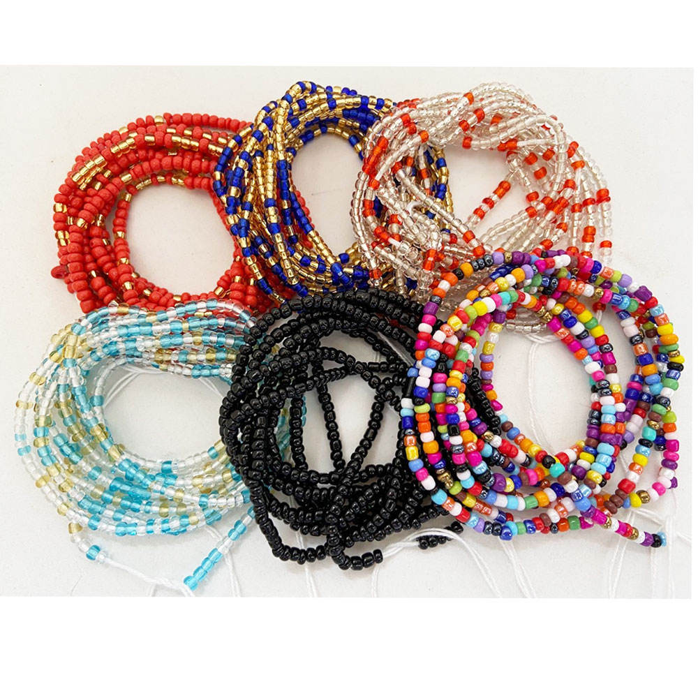 Ladies sexy plus size African ghana cotton string adjustable tie on loss weight Belly waist beads women belly chain 50 inches