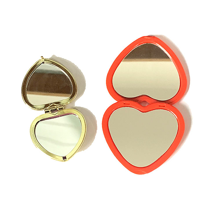 Hot sale new design OEM accept custom colors heart shape plastic compact pocket make up mirror