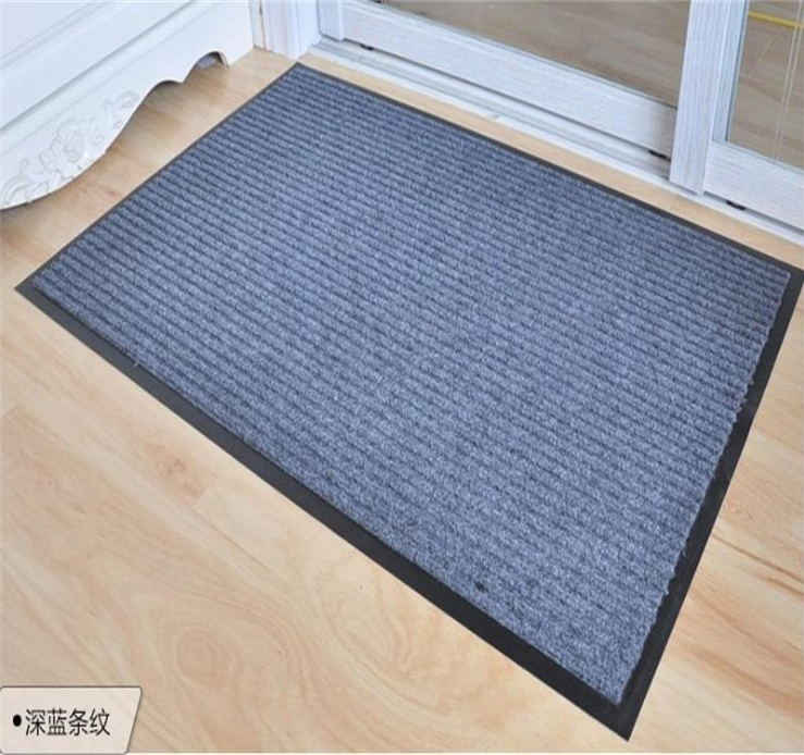 real factory supply anti-slip 100% polyester PVC double twin ribbed striped door mat