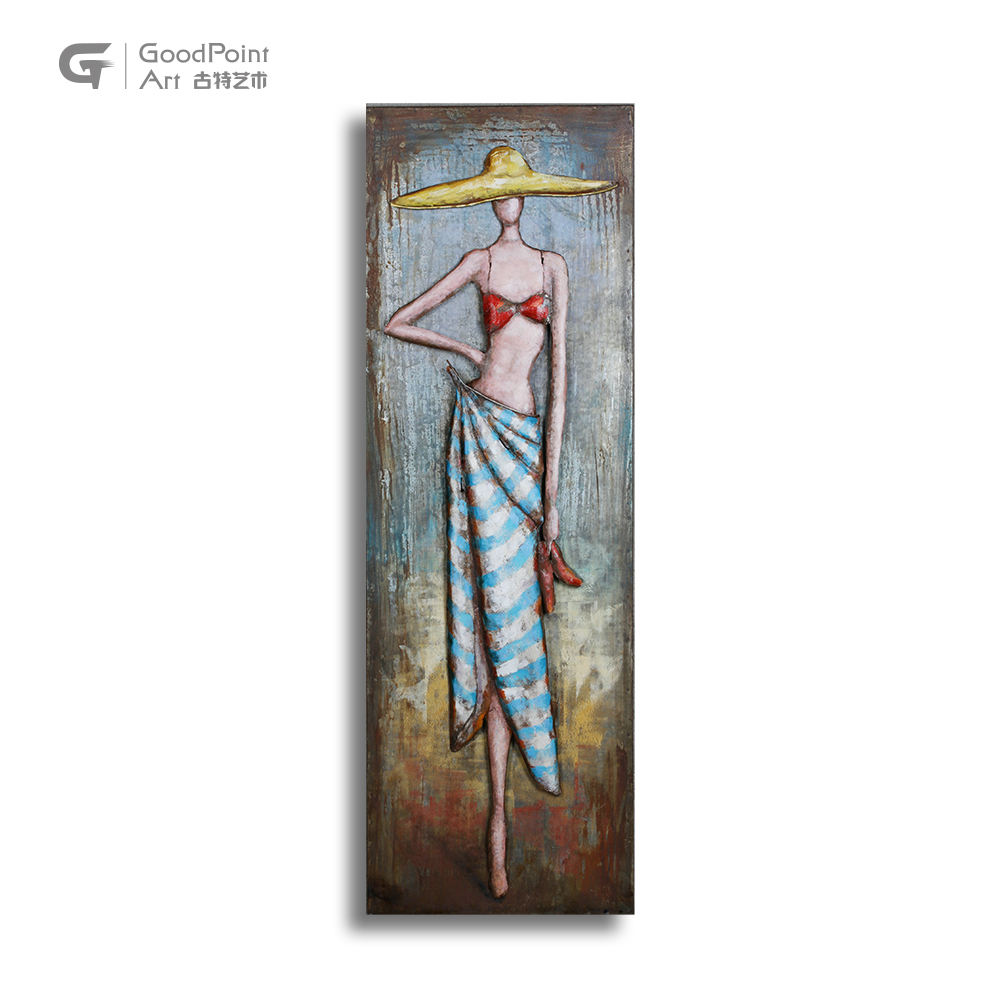 Eco Metal wall hanging 3D portrait figure nude female body painting