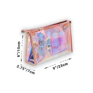 1 pc Holographic Makeup Bag Iridescent Makeup Pouch for Cosmetic Toiletry Pencil Brush Makeup Organizer Bags