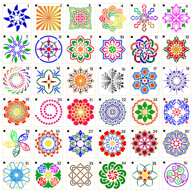 9X9cm Mandala Plastic PET stencil ross-border auxiliary template wall paint spray rock painting flowers hollow out DIY template