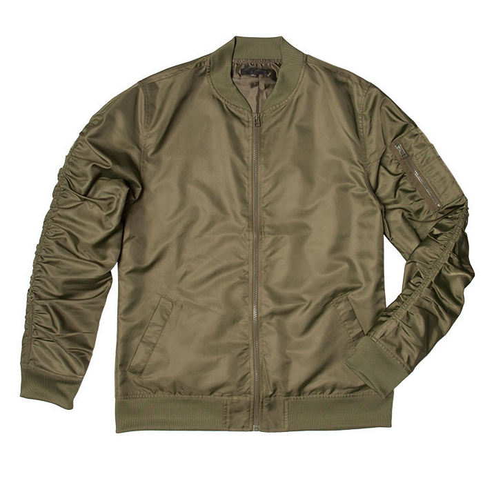 High quality OEM custom european design army green reflective satin bomber jacket for men