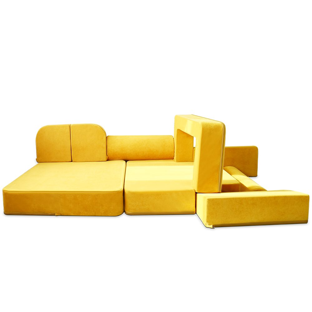 Orthopedic High-end Super Soft, Yellow Chenille Children Play Sectional Couch Floor Cushion Couch With Many Shapes//