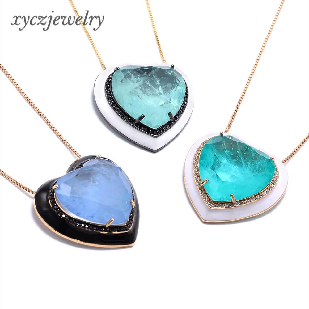 Hot new oil drip resin enamel fusion heart-shaped pendant necklace