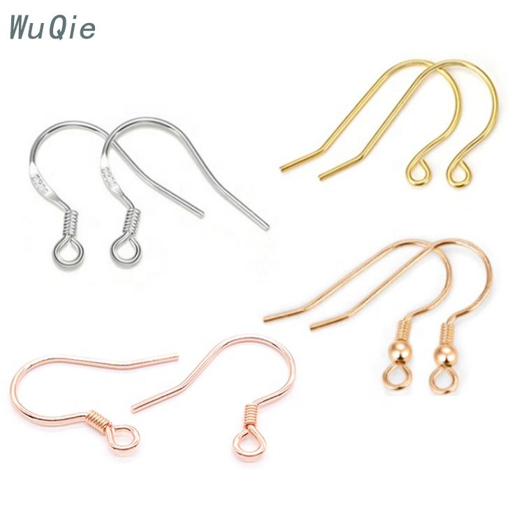 Wuqie Wholesale Earring Findings 925 Sterling Silver Earwire Earring Clasp Hook Findings for DIY Jewelry Findings