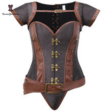 12 Alloy Steel Boned Steampunk Clothing Women's Shapers Corsets And Bustiers Top With Jacket And Detachable Belt