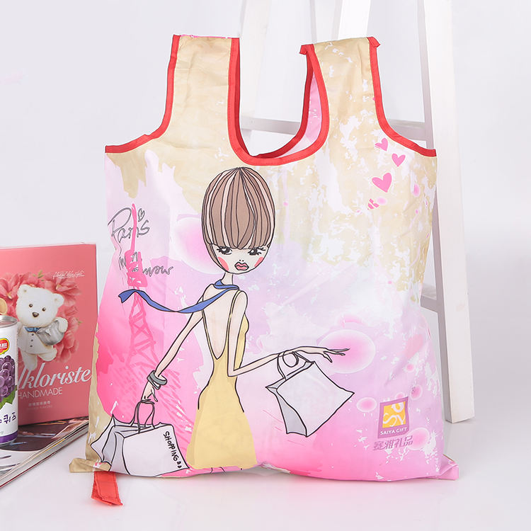 t shirt lady woman nylon polyester foldable shopping bag