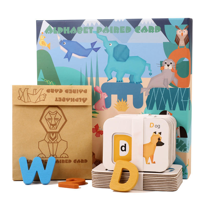 New Design Numbers and Alphabets Cards Set ABC Wooden Letters and Numbers Card Matching Puzzle Game Montessori Educational Toys