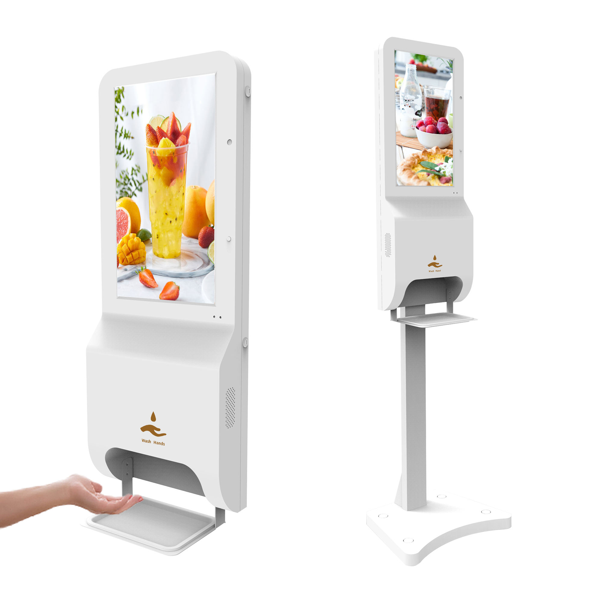 automatic soap gel hand sanitizer dispenser <span class=keywords><strong>lcd</strong></span> indoor advertising screen portable digital signage kiosk totem