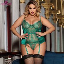 Plus Size Lady Seduction Green Lace Transparente Erotic Bustier Sexy Lingerie