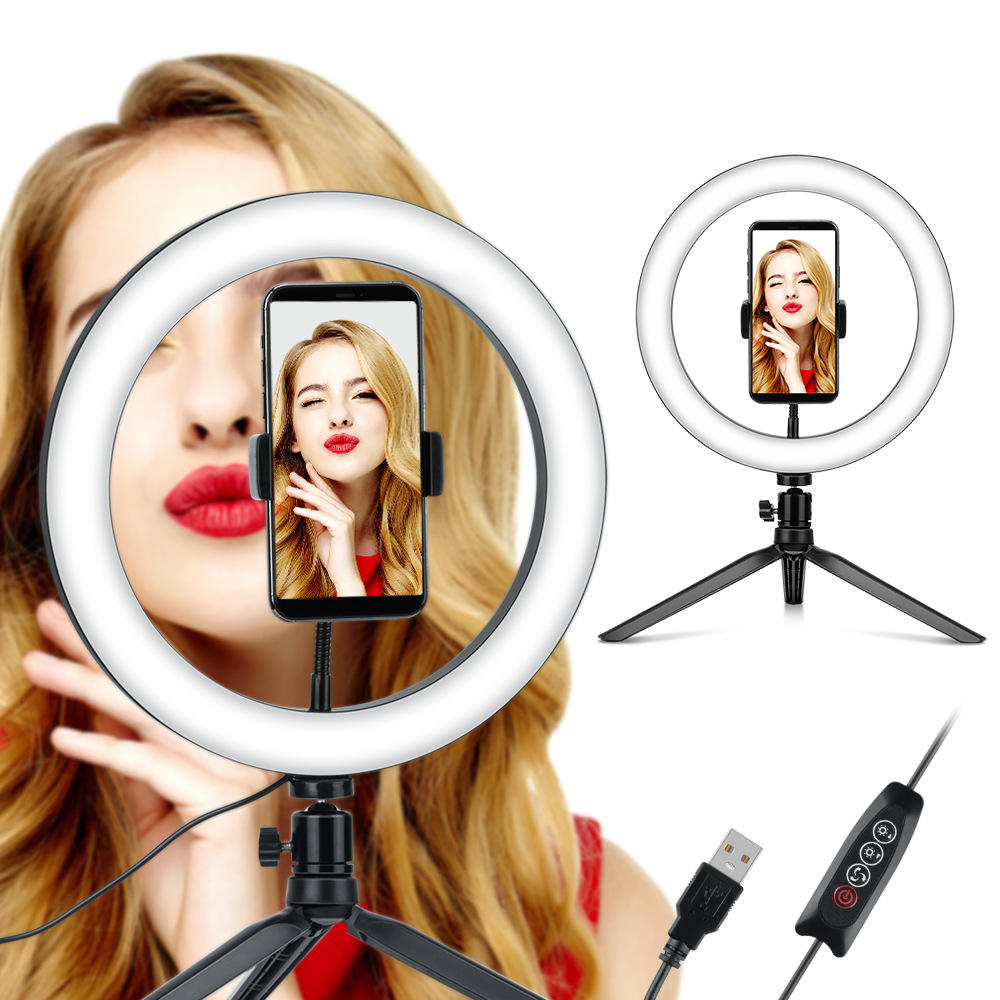 Dimmable Selfie LED Ring Light Beauty Fill Lamp with Folding Phone Clip