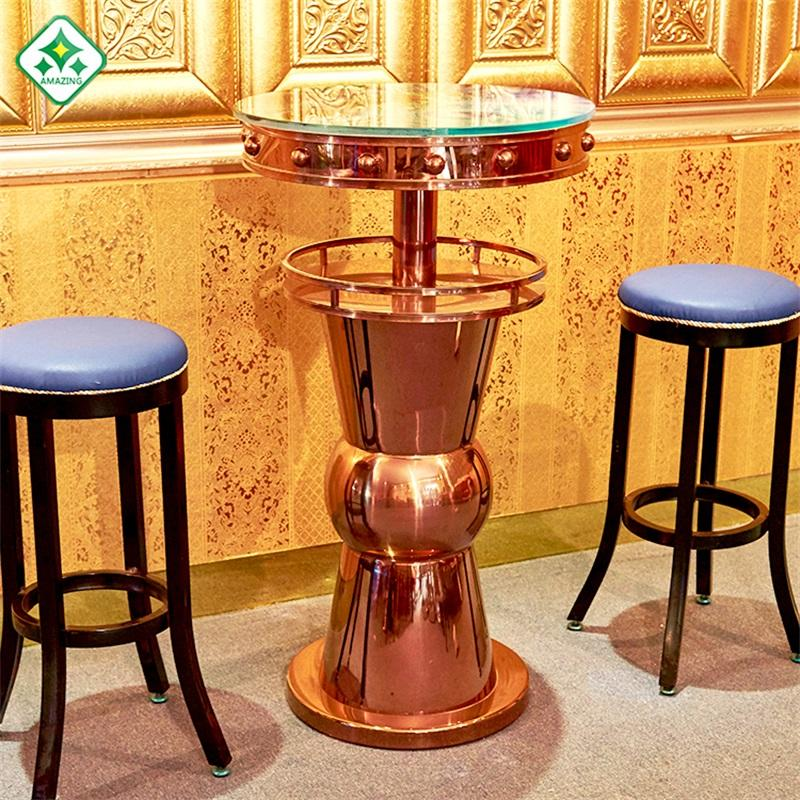 Modern Home Design Mini Wine Table Mobile Bar Counter Commercial Furniture Gold Stainless Steel Stand Up Bar