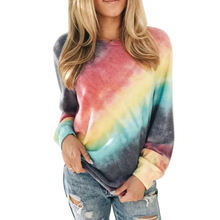 Women's autumn spring long sleeve shirts women casual t shirts custom printing gradient shading blooming tie dye t shirts women