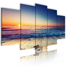 Canvas Print Wall Decoration Art Picture Modern & Calligraphy Posters Prints Custom Decor 5 Piece Beach Painting