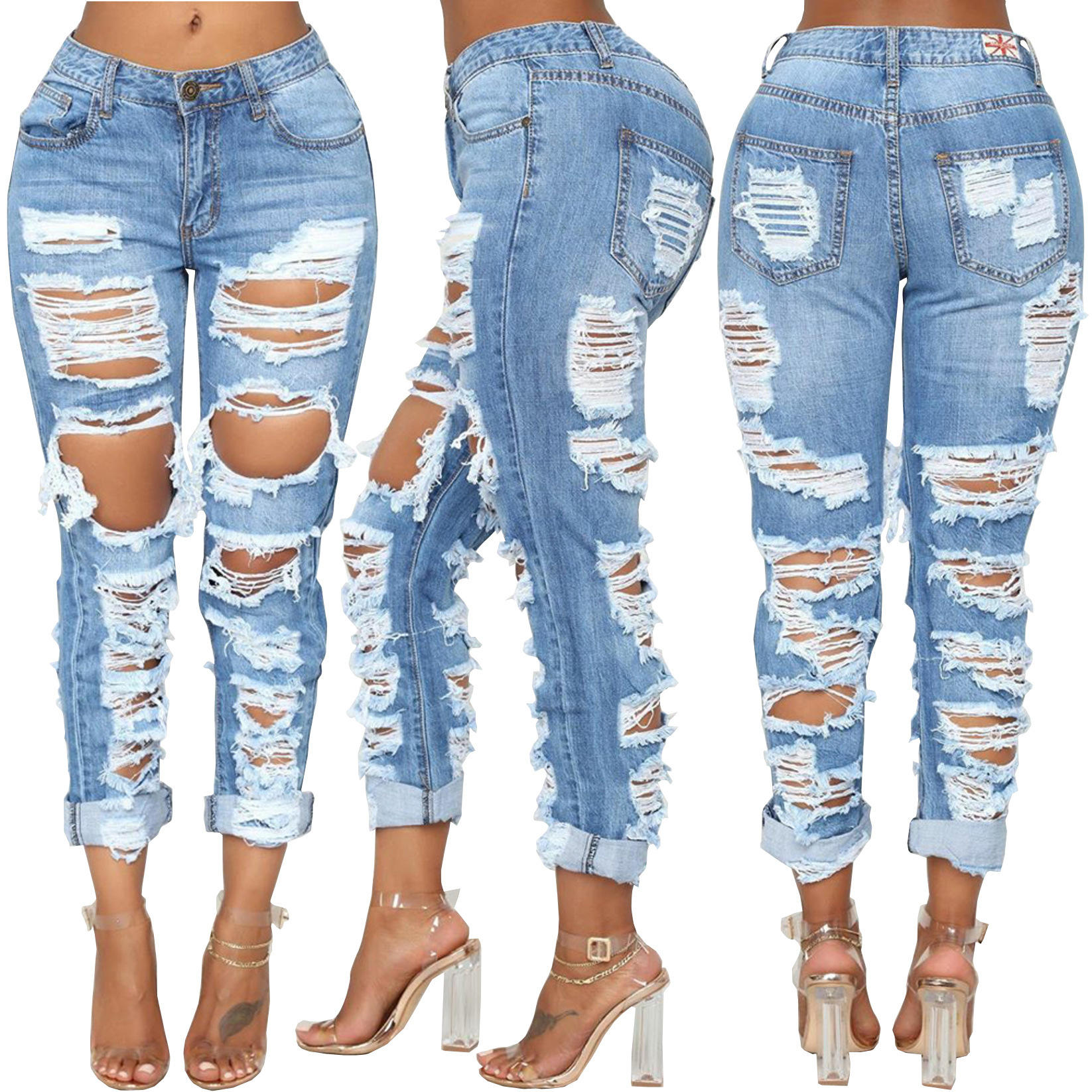 New Design Women Ripped Distressed Washed Denim Pants Boyfriend Damaged Jeans