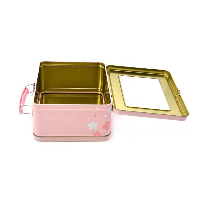 Large clear plastic tin container with lid and handle jewelry tin box