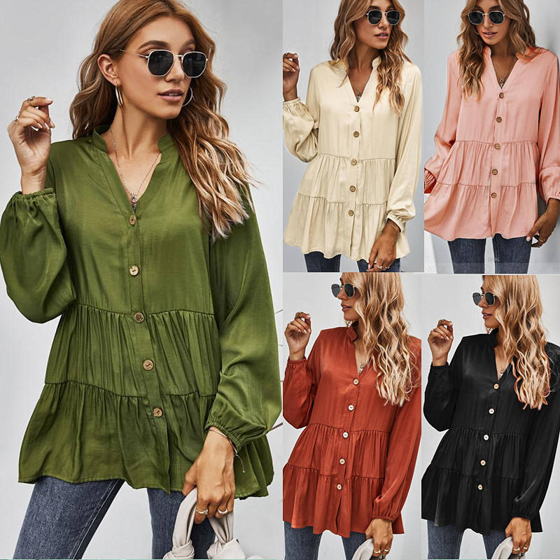 Amazon Popular 2021 Spring New Arrival Women Loose Blouse V Neck Long Puff Sleeve Casual Shirts