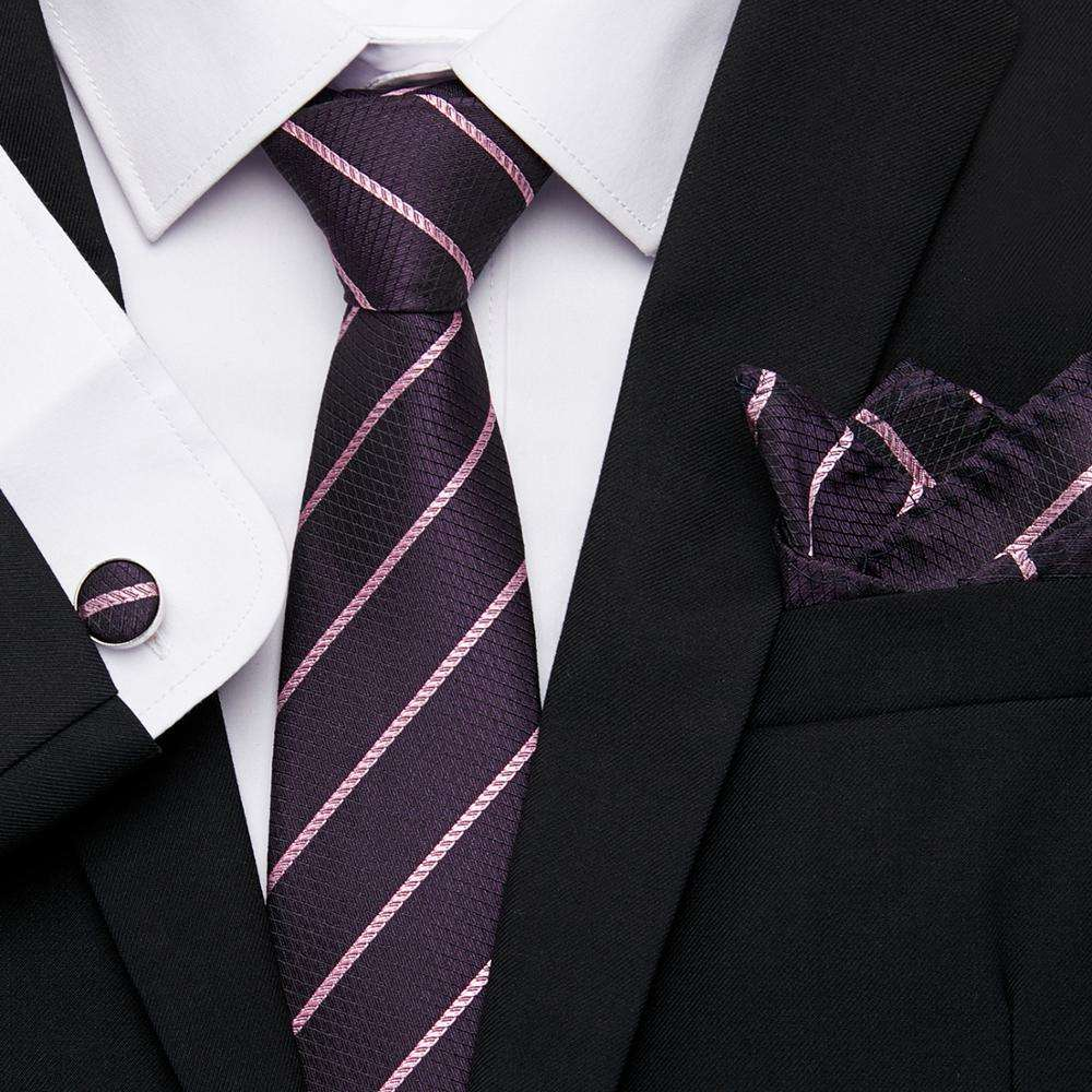 7.5 Tie For Formal Wedding Business Party Neckties 100% Silk Jacquard Woven Men Classic Tie + Hanky + Cufflinks Sets